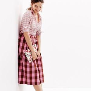 J Crew Pink Gingham Midi Skirt 00 XSmall